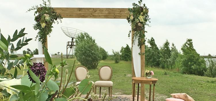 bruiloft houten boog